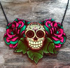 Sugar Skull and Roses Tattoo Necklace