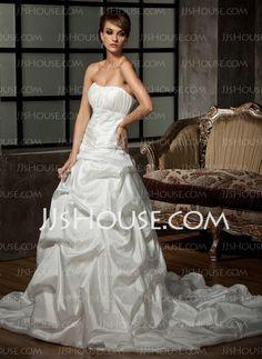 Wedding Dresses - $196.99 - Ball-Gown Sweetheart Chapel Train Taffeta Wedding Dress With Ruffle Beadwork Sequins (002012016) http://jjshouse.com/Ball-Gown-Sweetheart-Chapel-Train-Taffeta-Wedding-Dress-With-Ruffle-Beadwork-Sequins-002012016-g12016