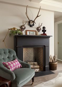 Image result for painted fireplace