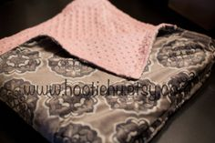 Titan Madrid Charcoal and Pink Adult minky blanket by HootieHu