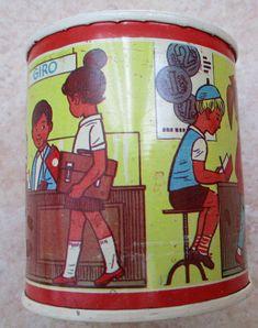 Vintage Tin Saving Box German Made Tin box Childs Piggy Bank