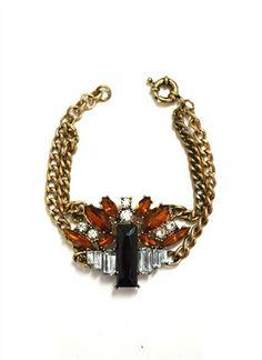 DaisyGem | Gold Brown Black Rhinestone Jeweled Crystal Stone Pendant Gold Chain Bracelet