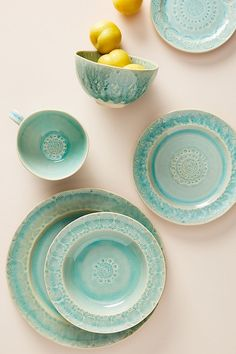 Old Havana Dinner Plates, Set of 4 by Anthropologie in Mint, Dinnerware Dinner Plate Sets, Dinner Sets, Dinner Plates, Dinner Ware, Dinner Dishes, Plates And Bowls, Side Plates, Soup Bowls, Outdoor Dinner Parties