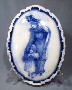 Antique Flow Blue Porcelain Victorian Mother Child in Snow Wall Plaque RARE | eBay