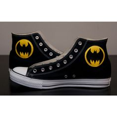 Batman Shoes, Converse ($100) ❤ liked on Polyvore featuring shoes, batman, converse, sneakers, converse shoes, converse footwear and stitch shoes