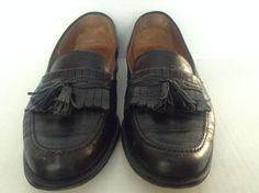 Men's Magnanni Solid Black Leather Tassel Loafer Slip On Shoes Size 11.5M Spain #Magnanni #LoafersSlipOns