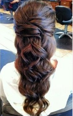 Cool Long Brown Homecoming Hairstyle (pretty, but I don't know how i'd pull this off)