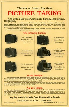 "1909 ""Youth's Companion"" magazine advertisement for Kodak Brownie cameras. I personally have a see My Vintage Stuff board."