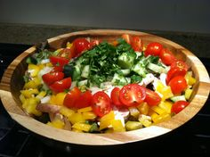 Taco Salad Base...check out the blog for the Shredded Chicken Recipe that goes on top!
