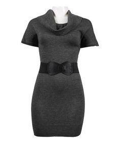 Another great find on #zulily! Heather Gray Belted Cowl Neck Dress by New Yorker's Apparel #zulilyfinds