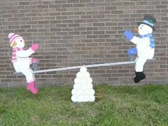 teetering snow couple pattern after your halloween and christmas characters have had their turn playing on your motorized teeter totter display - Motorized Christmas Decorations
