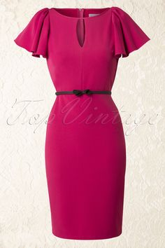 50s Carrie Butterfly Sleeves Pencil Dress in Pink - Paper Dolls