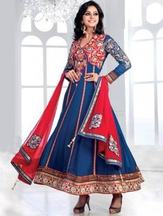 Blue Georgette Anarkali Suit With Embroidery Work (With Santone Inner) www.saree.com