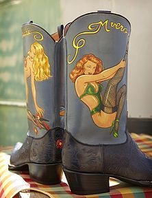 Rocketbuster, the finest Handmade Custom Cowboy Boots. Family owned, handmade in TEXAS,shipped worldwide.Spaceage vintage style for folks who just ain't boring! Custom Cowboy Boots, Custom Boots, Western Boots, Pin Up, Vintage Fashion, Footwear, Purses, My Style, Handmade
