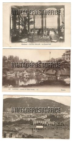 Cannes 3 vintage postcards L'Hôtel Gallia door vintagepostoffice