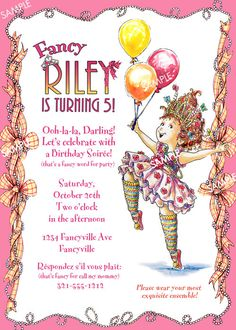 Fancy Nancy Invitation for Birthday Party by GlamberryInk on Etsy Tea Party Birthday, 6th Birthday Parties, Girl Birthday, Birthday Ideas, Fourth Birthday, Tea Party Invitations, Fancy Words, Fancy Nancy, Childrens Party
