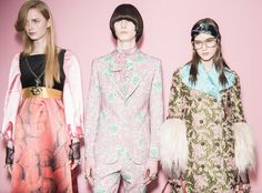Alessandro Michele continued to refine his reinvention of Gucci, with a collection of clashing prints, colors and textures that mixed energy and attitude of the street with a refined and classic Milanese beauty.