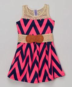 Look what I found on #zulily! Neon Pink Chevron Belted Dress - Girls #zulilyfinds