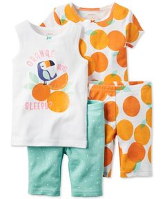 7956468386 Carter s Baby Girls  4-Pc. Orange You Sleepy Pajama Set Girls Pajamas