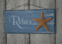 Relax - Tropical Sign with Starfish - Beach Wooden by NaturesGlow