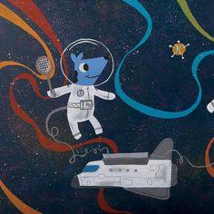 Space Explorers - Tennis - Whimsical artwork of animals playing tennis in space.  #kidsroom #kidsroomart #cuteart #whimisicalart #wallart #childrensroomart #spaceart #shuttle