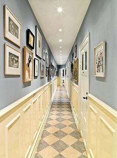 Paint colors for small hallways home design and decor great small hallway decorating ideas wainscoting framed Blue Hallway, Upstairs Hallway, Entry Hallway, Hallway Colours, Hallway Paint, Hallway Walls, Hallway Furniture, Furniture Ideas, Small Hallway Decorating
