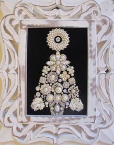 Jeweled Framed Jewelry Christmas Tree White Black by audreymivey