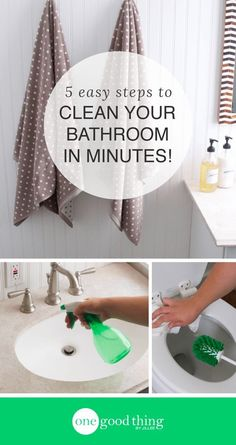 These 5 easy steps (recommended by an expert with 20 years of experience) will help you clean your bathroom faster and more efficiently than. Bathroom Cleaning Hacks, Cleaning Day, Deep Cleaning Tips, Household Cleaning Tips, House Cleaning Tips, Natural Cleaning Products, Cleaning Solutions, Cleaning Recipes, Cleaning Supplies