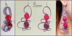 Orecchini fatti a mano, realizzati con pietre dure e silicone colorato - Serena Creazioni, bijoux artigianali.