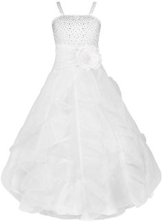 YiZYiF Kids Big Girls Flower Party Wedding Gown Bridesmaid Organza Ruffle Dress White 4 >>> Click image for more details. Ball Gowns Prom, Pageant Dresses, Ball Dresses, Girls Party Dress, Birthday Dresses, Girls Dresses, Birthday Frocks, Dress Party, Party Wear