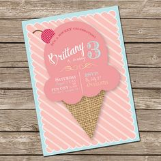 Ice Cream Birthday Invitation - Sweet - Printable Invitation