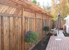 Fence with lattice and arbor