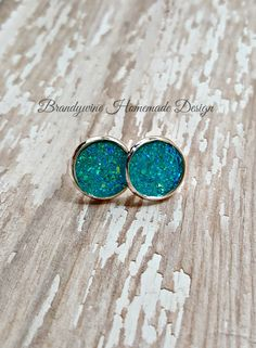 Druzy Earrings, 12 mm Druzy, Druzy Studs, Light Blue Druzy Earrings, Natural Color Druzy Earrings, Affordable Jewelry, Earth Jewelry by BrandywineHD on Etsy