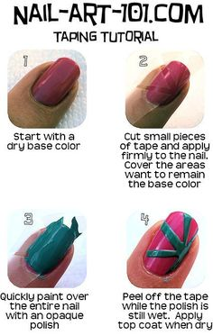 Nail taping tutorial: Nail Taping is an easy to do technique that gives stunning, professional looking results. A very good technique for someone just starting out, or lots of fun to do with kids if you don*t mind getting a little messy! It*s very helpful if you want to do a stripe manicure but don*t have a steady hand, or if you just want to do a starburst effect. This step-by-step tutorial will tell you everything you need to know.  The possibilities are endless!!
