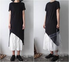 Women Black Side long Slit Yamamoto Dark Pleated Asymmetric