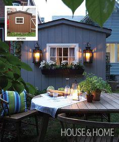 The cottagey exterior provides the perfect backdrop for summer entertaining. | Photographer:  Michael Graydon  Designer: Stacy Begg & Lauren Petroff