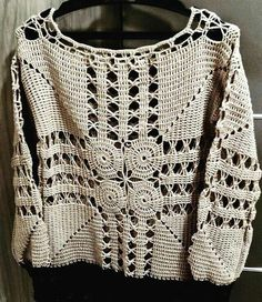 Moda Crochet, Easy Crochet, Crochet Lace, Cardigan Pattern, Top Pattern, Crochet Diagram, Crochet Patterns, Crochet Videos, Crochet Cardigan