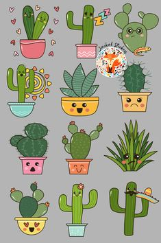 Cute Cactus Emojis sticker package created by Tharine Van Tonder Cactus Stickers, Pop Stickers, Emoji Stickers, Cactus Drawing, Cactus Art, Cactus Plants, Mermaid Wallpaper Backgrounds, Cactus Cartoon, Doodle Characters