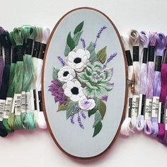 Anemones and Succulents Embroidery Pattern (PDF)