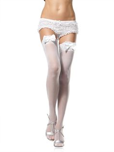 awesome Lace Top Stockings W/Bows - http://emeliebea.com/shop/hosiery/lace-top-stockings-wbows/