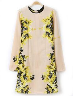 Yellow Round Neck Long Sleeve Floral Slim Dress - Sheinside.com