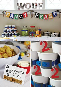 dog themed food and dessert table
