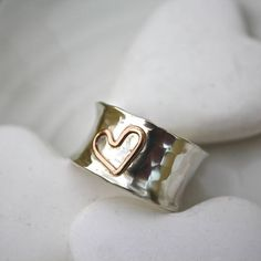 Personalised Gold Heart Curved Ring from notonthehighstreet.com
