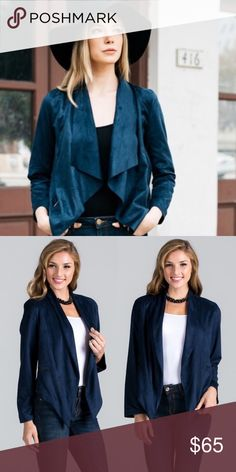 Navy Vegan Suede Waterfall Jacket PREORDER ❣️Navy Vegan Suede Waterfall Jacket. Also Available in Camel. No Trades Price is a Firm Unless Bundled Glamvault Jackets & Coats