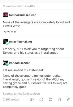 Which makes them human. I still enjoy the fight over their decisions as it shows quite well what we want to see in the world, what we fear, what excuses we make and how our decisions are made on a moral basis. It's fun. Marvel Universe, Marvel Jokes, Avengers Memes, Marvel Funny, Marvel Dc Comics, Marvel Avengers, Nerd, Deadpool, Spiderman