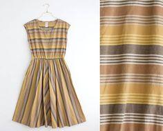 Vintage Summer Dress Striped Midi Dress Sleeveless Dress