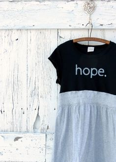 Hope Graphic Tunic upcycled babydoll top gray and by wearlovenow, $48.00 #upcycled clothes, #hope graphic T shirt tunic