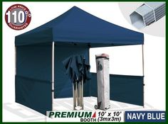 """Eurmax Premium Ez up Canopy Booth Bonus Awning and 4weight Bag(10x10 Feet, Navy) by Eurmax. $449.95. Wall Side Kit :300 Denier Polyester,Water Resistant,100% UV Protection.wall package includes:One(1)Solid walls + Two(2)1/2walls +Four(4)Weight bag. Wheeled bag with 4.7"""" wheels,The Best design and easy to handle even on rough ground. Eurmax premium Canopy booth Includes:Canopy Top, Canopy Frame,back wall,Two(2)1/2walls, Rail bar,Awning,Four(4)Weight bag,Roller Bag...."""