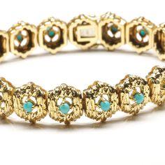 18-Karat Yellow Gold Rough Bark Finished Bracelet withTurquoises, c. 1970