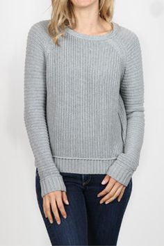 h.one Mixed Ribbed Pullover Sweater in Heather Grey $65 Elizabeth Boutique #hone #tops #sweater